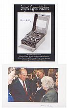 Mavis Batey.  A pair of 7 x 5  pictures. One of the 'Enigma' machine and another of her meeting Prince Phillip.