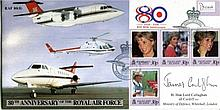JAMES CALLAGHAN    -    SCC 80th anniversary of the RAF with RAF VIP Flight commemorative postmark on full set of Falkland Islands Princess Diana stamps, signed by former Prime Minister the Rt Hon Lord (James) Callaghan of Cardiff. Good condition