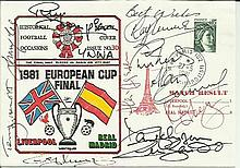 Liverpool FC players signed cover. 1981 Dawn Covers football cover for the European Cup Final between Liverpool and Real Madrid. Signed by many players including Phil Thompson, Ray Clemence, Phil Neal, Alan Kennedy, Graham Souness, Terry McDermott,