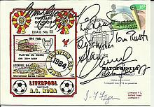 Liverpool FC players signed cover. 1984 Dawn Covers football  cover for the Liverpool v Roma European Cup Final signed by Bruce  Grobbelaar, Phil Neal, Ian Rush, Alan Kennedy, Graham Souness and Joe  Fagan Good condition