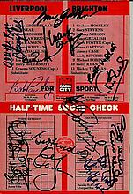Liverpool FC multi-signed 1981/2 football programme for the match against Brighton. Signed to front a back by Liverpool legends including Bob Paisley, Alan Hansen, Sammy Lee, Kenny Dalgleish, Mark Lawrenson, Phil Neal, Alan Kennedy, Bruce Grobbelaar,