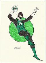 Original artwork of Green Lantern by unknown artist. Good condition