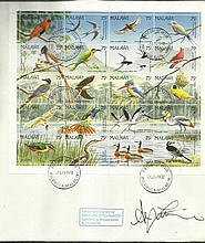 Alan Titchmarsh signed large 1992 Malawi Birds FDC with lovely 20 stamp miniature sheet. Only 10 iss