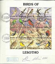 Ernie Wise d large 1992 Lesotho Birds FDC with lovely 20 stamp miniature sheet. Only 12 issued numbe