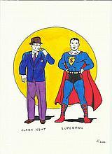 Original artwork of Clark Kent and Superman unknown artist. Good condition