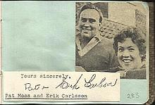Pat Moss and Erik Carlsson signature piece fixed to Autograph album page with small inset b/w photo. Louise Dunn  signed on reverse.