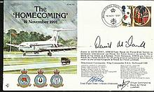 Wg Cdr McDonnell OBE signed The Homecoming cover comm. the return of Terry Waite, flown VC10 signed by two of the flight crew. Good condition