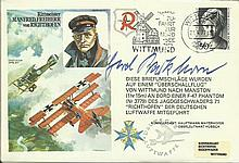 Gen Gerd Barkhorn Luftwaffe High Scoring Fighter Ace signed RAF WW2 cover. Baron Von Richthofen Historic Aviators cover. Barkhorn flew his first comba