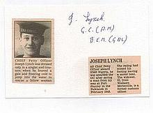 Chief Petty Officer Joseph Lynch GC BEM George Cross Winner Signature on card with newspaper cutting. Good condition £10   -     15