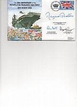 Rare Falklands War signed cover. Multi-signed 20th Anniversary Return Of Falklands Task Force Navy Cover Signed Margaret Thatcher. Sir John Nott And S