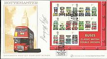 Reg Varney signed Internetstamps 2001 Buses Classic Miniature Sheet official FDC, rare cover. Good condition