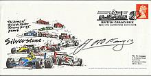 Juan Manuel Fangio autographed British Grand Prix July 9, 1993 autographed Silverstone Envelope. Features the F1 cars in colour and labelled