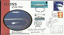 Capt Mike Bannister & Ian McNaught signed 2003 Icons of our Time Internetstamps cover carried onboard the last ever Concorde flight and the last QE2 B