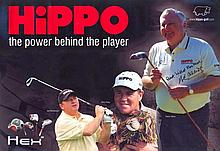 Peter Alliss Hippo Golf promotional poster, measuring 60cm x 85cm, clearly autographed by Peter Allis. A former professional golfer, Allis is best kno