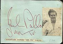 Jackie Pallo signature piece fixed to Autograph album page with small inset b/w photo. Terry Hall and Lenny signed on reverse.