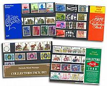 GB Collectors Stamp Packs 6 packs from 1977, 1976, 1978, 1972, 1980 with high cat value. Good condition with original film packs.
