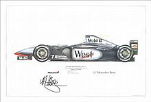 David Coulthard autographed motor racing print. Superb large 63cm x 45cm print of a 1998 Mclaren Mercedes Benz Formula One car, autographed clearly by