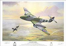 Gloster Meteor pilot autographed print.  39.5cm  x 28cm 616 Squadron Association print of a Gloster Meteor Mk1 flying over Kent in 1944. Signed by the