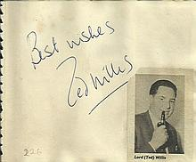 Ted Willis signature piece fixed to Autograph album page with small inset b/w photo. Philip Lowrie signed on reverse.