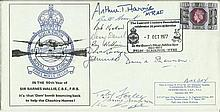 Eight Dambuster Veterans Sir Barnes Wallis 80th Birthday Avro Lancaster Bomber cover signed by Eight WW2 Dambuster Veterans. Arthur Bomber Harris, Bil