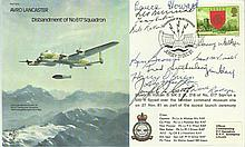 THIRTEEN WW2 Dambuster Veterans signed Avro Lancaster B30 Bomber cover. Only 27 covers were signed by veterans of the famous bouncing bomb raid crews,