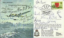 Avro Lancaster B30 Bomber cover signed by Twenty Two 617 Sqn Tirpitz raiders & Tall Boy, Grand Slam bombing raid WW2 veterans Only 27 covers were sign
