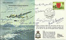 Sixteen WW2 Dambuster Veterans signed Avro Lancaster B30 Bomber cover. Only 27 covers were signed by veterans of the famous bouncing bomb raid crews,
