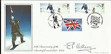 Sir Edmund Hillary signed 2003 A G Bradbury 50th ann. Ascent of Everest FDC. Good condition