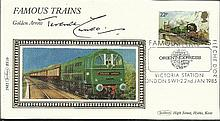 Terence Cuneo signed 1985 Benham Famous Trains single stamp FDC. Golden Arrow illustration. Good condition