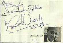 Maurice Woodruff signature piece fixed to Autograph album page with small inset b/w photo.