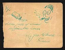 Dr Geo Rockwell signed album page with amusing doodle of a bottle of pills and man smoking a cigar. George Lovejoy