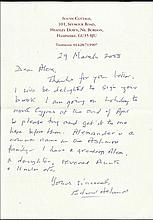 Admiral of the Fleet E Ashmore hand signed letter
