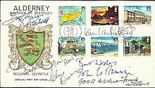Dads Army multi-signed FDC 1983 Alderney cover