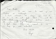 Roger Hunt handwritten letter on half A4 sheet.