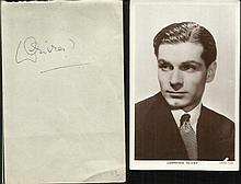 Lawrence Olivier autograph on album page along