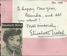 Elizabeth Welch signature piece fixed to Autograph