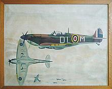 Battle of Britain Spitfire 1940s Oil Painting on