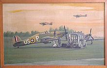 Battle of Britain Hurricanes 1940s Oil Painting on