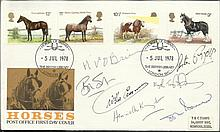 Horses FDC signed by 7 including Willie Carson,