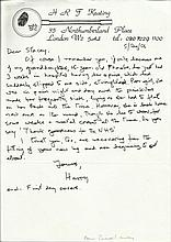 Henry Keating crime fiction writer handwritten