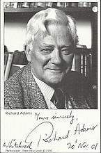 Richard Adams signed 6x4 b/w photo, author of