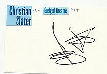 Christian Slater signed white card, attached to A4