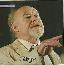 Timothy West signed colour magazine page. Fixed to