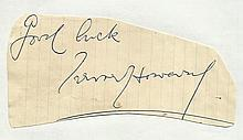 Trevor Howard irregular cut autograph attached to