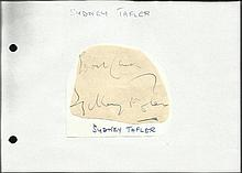 Sydney Tafler irregular cut autograph. Fixed to A5