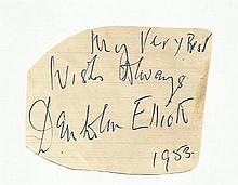 Denholm Elliott irregular cut autograph. Fixed to