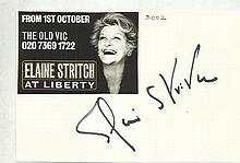 Elaine Stritch signed 6x4 card, attached to A4