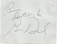 Brian Dennehy large autograph. Fixed to white A4