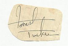 Forest Tucker irregular cut autograph fixed to