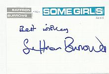 Saffron Burrows signed large autograph on card.